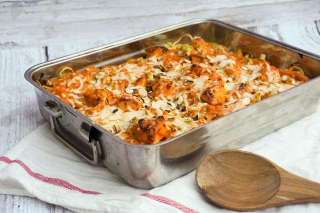 Lachs-Auflauf mit Spaghetti