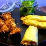 Sesam-Soja-Hähnchen und Frühlingsrollen Italian Style